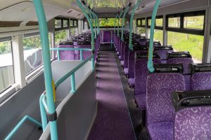 Interior of bus showing AirBubbl devices